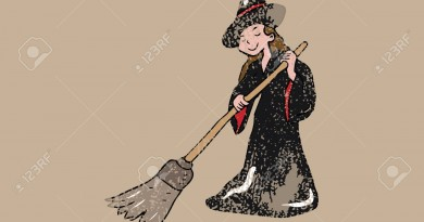 People Halloween witch broom house cleaning