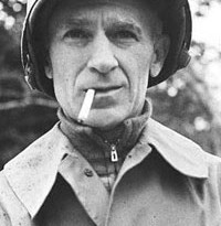 "19 Sep 1944 --- 9/19/1944: Ernie Pyle, 1900-1945, journalist and correspondent, who reported from Latin America and accompanied the Allied forces in World War II during invasions of North Arfrica, Italy and Normandy.  He reported from the front lines with personal stories of soldiers and their lives.  His stories won him the Pulitzer Prize in 1944 for ""Brave Men""(1944) and ""Here is Your War""(1943).  He was killed by Japanese gunfire during the US landing on Okinawa, and became a national hero. --- Image by © Bettmann/CORBIS"