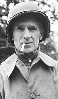 """19 Sep 1944 --- 9/19/1944: Ernie Pyle, 1900-1945, journalist and correspondent, who reported from Latin America and accompanied the Allied forces in World War II during invasions of North Arfrica, Italy and Normandy.  He reported from the front lines with personal stories of soldiers and their lives.  His stories won him the Pulitzer Prize in 1944 for """"Brave Men""""(1944) and """"Here is Your War""""(1943).  He was killed by Japanese gunfire during the US landing on Okinawa, and became a national hero. --- Image by © Bettmann/CORBIS"""