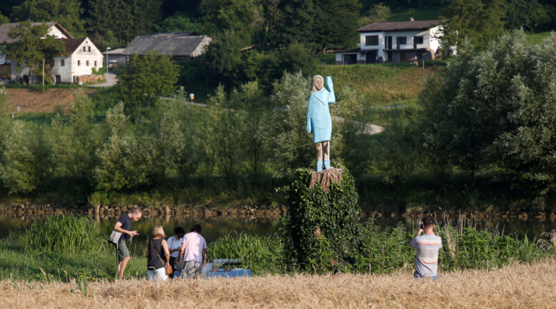 FILE PHOTO: Life-size wooden sculpture of U.S. first lady Melania Trump is officially unveiled in Rozno, near her hometown of Sevnica, Slovenia, July 5, 2019. REUTERS/Borut Zivulovic/File Photo