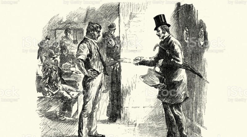 Vintage illustration of Victorian census enumerator at a common lodging house, 19th Century.  Confronted by the deputy