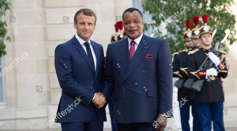 Mandatory Credit: Photo by PIERRE VILLARD/SIPA/Shutterstock (10378161e) French President Emmanuel Macron welcomes Republic of the Congo's President Denis Sassou Nguesso at the Elysee Palace Congolese President Denis Sassou Nguesso visit to Paris, France - 03 Sep 2019