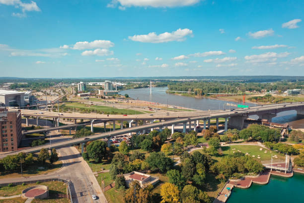 Aerial view of Omaha Nebraska and Council Bluffs Iowa on either side of the Missouri River